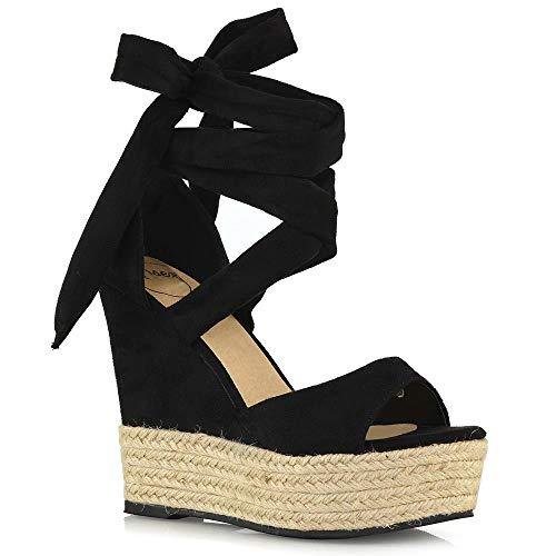ESSEX GLAM Sandalo Donna Lace Up Tacco a Zeppa Nero Finto Scamosciato Tacco Alto Piattaforma Peep Toe Estate Scarpe EU 38