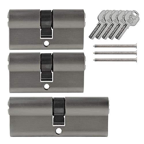 3x Tür Zylinder Schloss 60/80 mm gleichschliessend +5 Schlüssel Schliessanlage