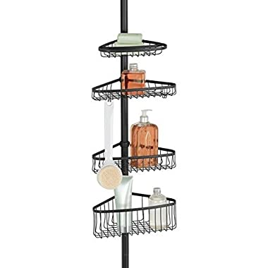 mDesign Bathroom Shower Storage Constant Tension Corner Pole Caddy – Adjustable Height - 4 Positionable Baskets - for Organizing and Containing Hand Soap, Body Wash, Wash Cloths, Razors – Matte Black