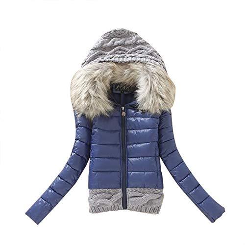 L9WEI Abrigo corto de plumas para mujer, estrecho, de invierno, acolchado, parka, abrigo, monocolor, elegante, chaqueta de invierno cálida con forro de piel sintética, azul oscuro, S