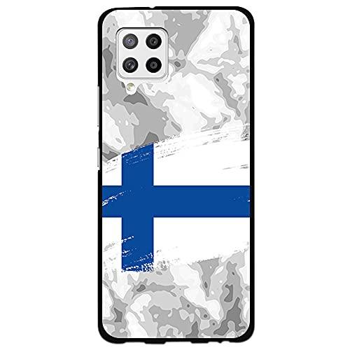 Schutzhülle für [Samsung Galaxy A42 5G], Silikonhülle, flexibel, TPU, Motiv: Finnland-Flagge, Pinselfarbe auf abstraktem Hintergr&