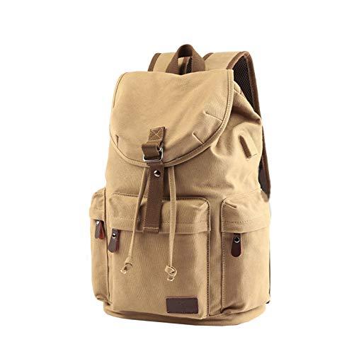 PPBB Unisex Casual Backpack Canvas Rucksack Bookbag Satchel Hiking Backpack Travel Outdoor,Beige