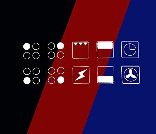 Aufkleber für Herd / Ofen, Symbole / Ersatzschilder / Aufkleber, weißer und transparenter Hintergrund