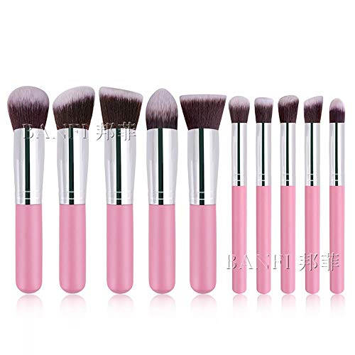 Jeu De Pinceaux De Maquillage, 10 Pinceaux De Maquillage Foundation Blush Eyeliner Jeu De Pinceaux De Maquillage, Mini (Mini), Poudre, Argent