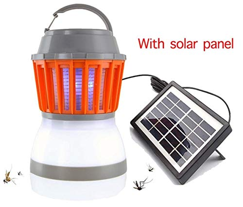 Solar Mosquito Killer lamp Outdoor Bug Zapper Trap Camping lantaarn 2in1 Portable USB Anti Mosquito Fly Insect Tent Light (Color : With solar panel)