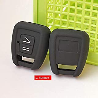 Fricgore - 1Pc Car Key Cover Protector_Silicone Rubber key fob cover skin set case shell protect for Opel Astra Zafira Vauxhall Vectra Omega 2 3 Buttons Remote Repair - (Color Name:Black)
