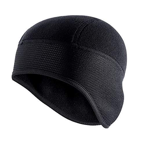 QQSA Unisex Winter-Radmütze windundurchlässiges Warm Polar Fleece Thermal Helm Liner Beanies Hat Solid Color Wandern Skifahren Ohr-Wärmer (Color : Black, Size : One Size)