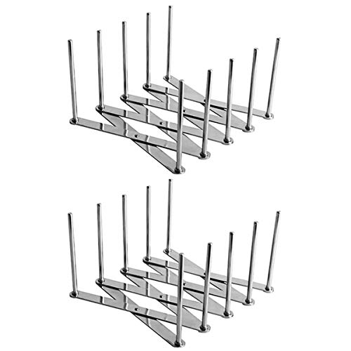 2PCS Pot Lid Organizers Retractable Rack for Dishes Pots and Pans Great for Multiple use such as Plate Stand and Drying Rack