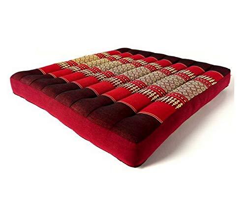 livasia Kapok Sitzkissen 50x50x6,5cm der Marke Asia Wohnstudio, optimal als Stuhlauflage oder Meditationskissen, Bodenkissen BZW. Stuhlkissen (rubinrot)