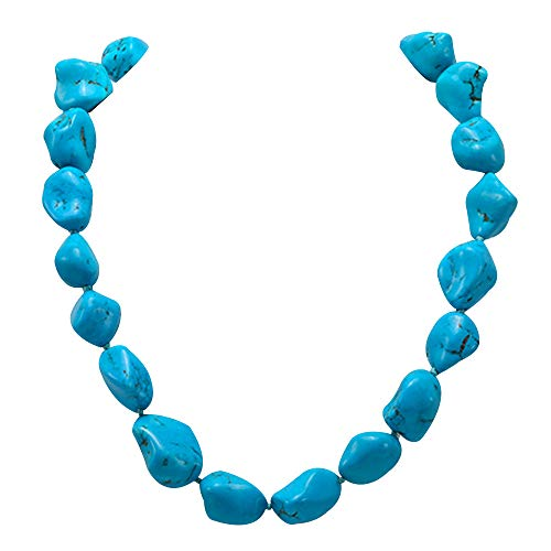 Blulu Gargantilla Collar con Sola Perla Collar con 3 Perlas Choker con Sola Gema//Turquesa y Collar con Turquesa Azul en Cuerda de Cuero para Mujeres Chicas