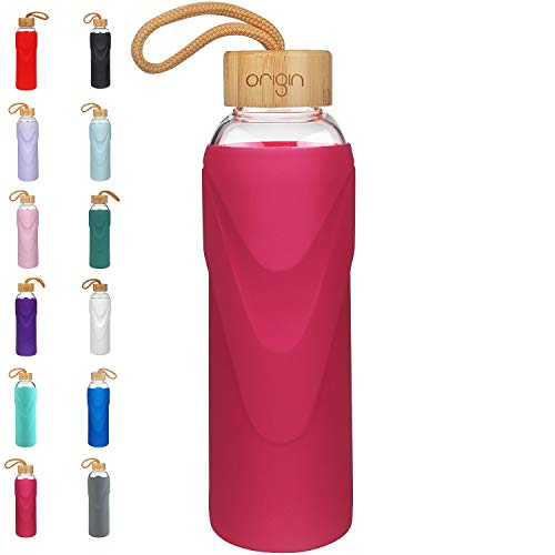 Origin Best BPA-Free Glass Water Bottle with Protective Silicone Sleeve and Bamboo Lid - Dishwasher Safe (Magenta, 22 oz)