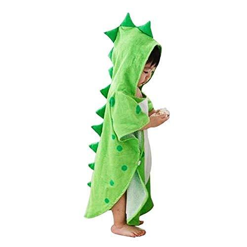 UULMBRJ - Albornoz infantil, diseño de dinosaurio, unisex, con capucha, para playa o para nadar, algodón, Verde, Large