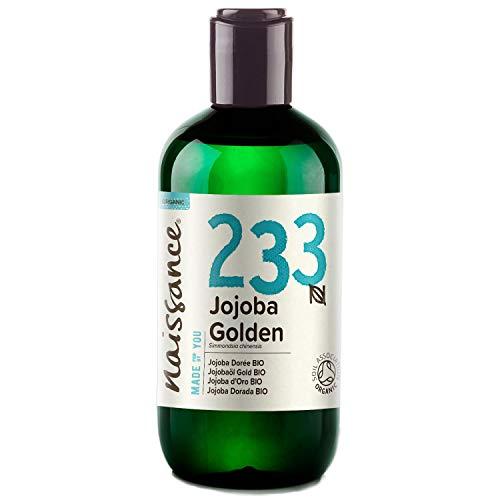 Naissance Aceite Vegetal de Jojoba Dorada BIO n. º 233-250ml - Puro, natural, certificado ecológico, prensado en frío, vegano, sin hexano y no OGM - Humecta y equilibra la piel.