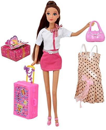 Doll Travel Play Set, Includes 12 Inch Flight Attendant Fashion Doll, Luggage Accessories, Traveling Suitcase, 2 Outfits, Purse and Gift Box, Style May Vary