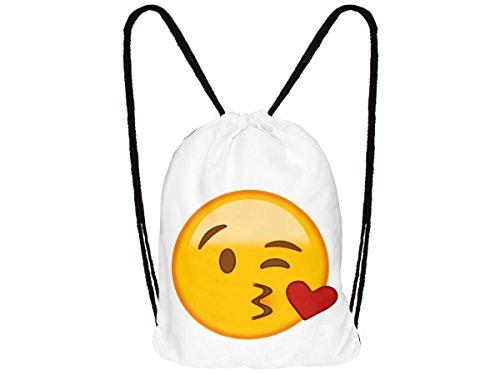 Sac à dos à cordon motif Emoji émoticônes :RU-195 Kuss weiß