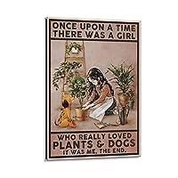 女の子と犬キャンバスプリント壁の装飾モダンポップアートエントランス絵画キャンバ壁掛けインテリア絵画部屋の装飾 額縁付き 24×36inch(60×90cm)