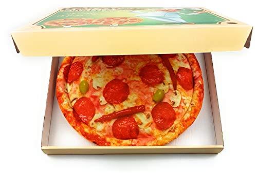 Feelinko Pizza-Sitzkissen im Verpackungsdesign eines Pizzakarton Multicolor Geschenkartikel Hingucker Kissen weich bequem
