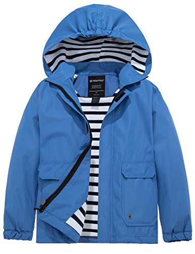 Wantdo Boy's Windproof Zippered Jacket Detached Hood for Walking Blue 10/12