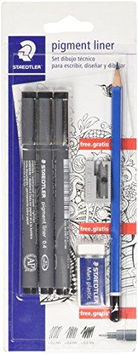 Staedtler 308 SBK3P2. Set de dibujo técnico: 3 Rotuladores Pigment Liner, lápiz, goma de borrar y afilalápices.