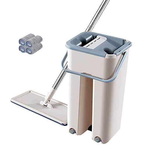 Juego de cubos para trapeador, mango de acero inoxidable, cabezales de trapeador de microfibra lavables y reutilizables para limpieza de pisos (Tipo B)