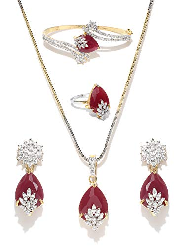 YouBella Jewellery Bollywood Ethnic Gold Plated Traditional American Diamond Indian Necklace Set with Earrings, Ring and Bracelet for Women (Red)