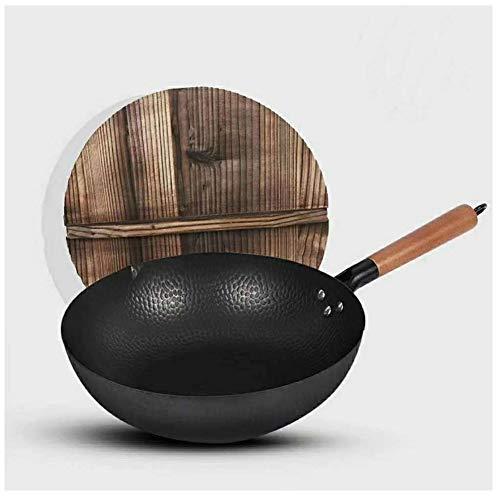 MoCa Factory Wok en fonte avec couvercle en bois, 30,5 cm de diamètre et grande poignée en bois