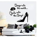 Adhesivo De Pared Aplique De Vinilo Para Pared Mujer Labios Zapatos Regla S Pegatinas Decorativas Salón De Belleza, Tienda De Ropa Mural Decorativo 57X57Cm