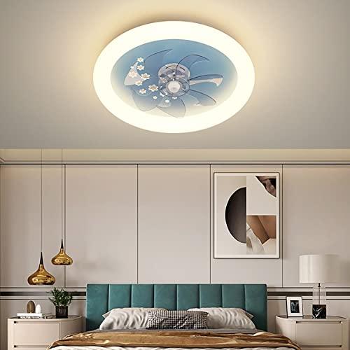 YCWDCS Lampara Ventilador Led Techo Pequeño Ventilador De Techo con Mando A Distancia Silencioso Plafon Led Techo Regulable 3 Velocidades Lámpara Habitación para Dormitorio Infantil Salon Cocina,Azul
