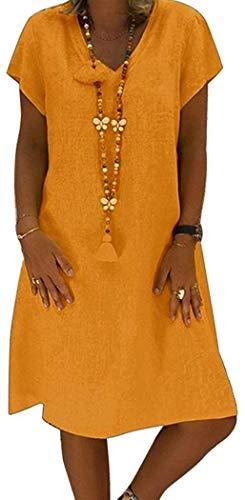 POINWER Damen Sommerkleid Leinen Elegant Kurzarm V-Ausschnitt Strandkleider A-Linie Patchwork Freizeitkleid MiniKleid (Farbe : A-orange, Größe : M)