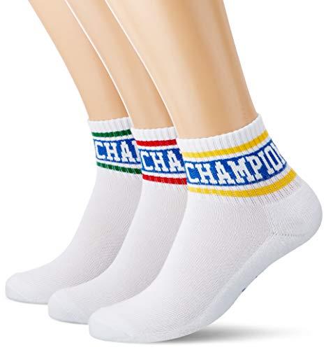 Champion Herren Rochester Chaussettes Courtes Old School X3 Socken, Mischstreifen Rot/Grün/Gelb, 43/46