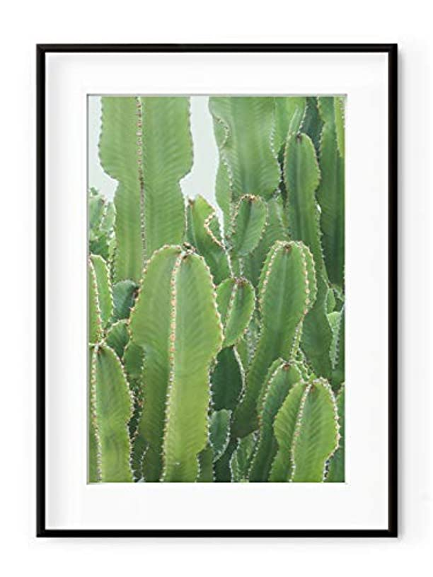 Neon Green Cactus White Lacquer Wooden Frame with Mount, Multicolored, 40x50