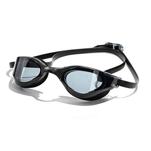 A-zht Gafas de natación profesionales a prueba de agua que iluminan doble antivaho para hombres y mujeres, gafas líquidas con funda de moda generosa (color: negro transparente, tamaño: mediano)