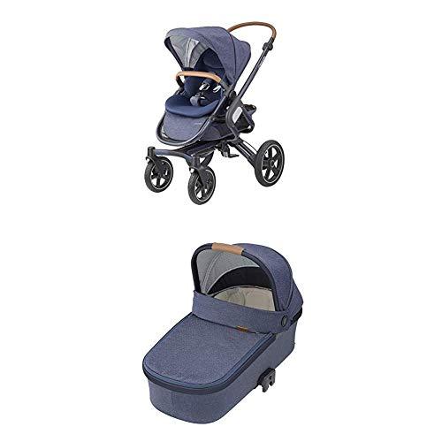 Maxi-Cosi Nova 4-Rad Kombi-Kinderwagen, komfortabel für Stadt und Land, Sparkling blue + Oria Babywanne, ab der Geburt bis ca. 6 Monate (0-9 kg), Sparkling Blue (blau)