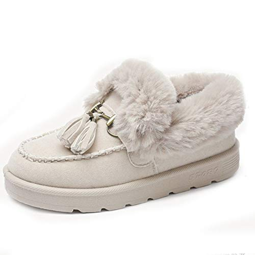 MUNDERA Women's Faux Fur Lined Moccasin House Shoes Soft Warm Fringe Snow Boots Casual Indoor Outdoor Slipper Beige