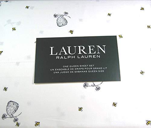 Lauren 4 Piece Queen Size Sheet Set Bumblebees,Flowers and Hives 100% Cotton