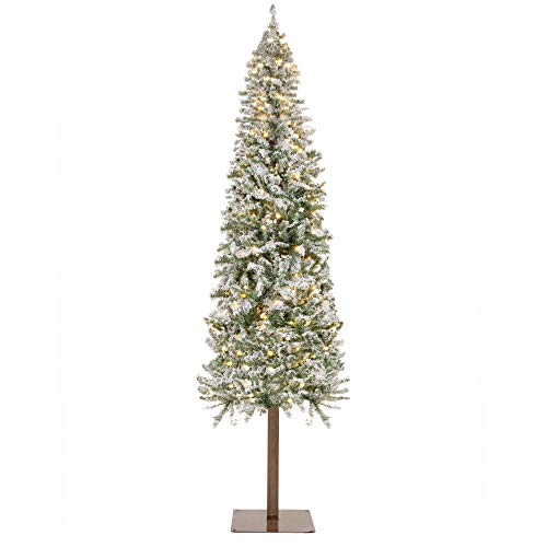 Best Choice Products 6ft Pre-Lit Snow Flocked Pencil Alpine Christmas Tree Holiday Decoration w/ 250 LED Lights, Stand
