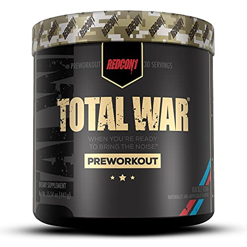 Redcon1 Total War - Pre Workout, 30 Servings, Increase Energy, Increase Endurance and Focus, Beta-Alanine, 350mg Caffeine, Nitric Oxide Booster - Keto Friendly (Rocket Bomb, 30 Servings)