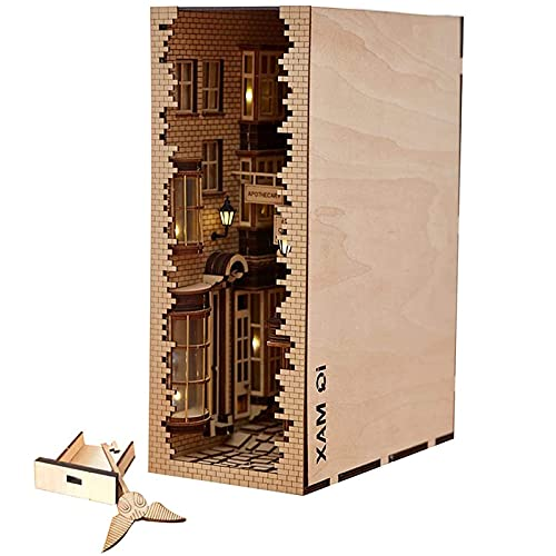 WLALLSS Libro de Madera 3D Sujetalibros Modelo de estantería DIY, Kit de Modelo de ensamblaje de callejón de Madera para decoración