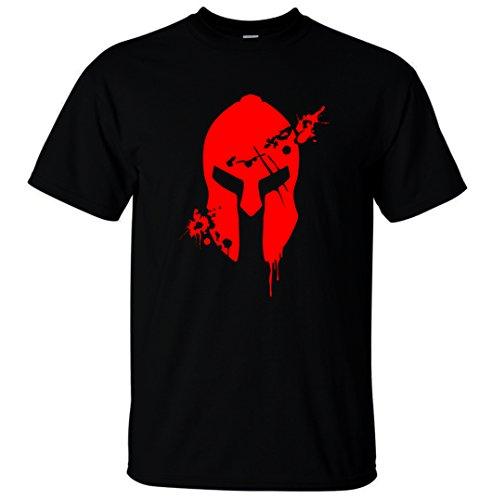 Reality Glitch Herren Bloodied Spartan Helmet T-Shirt (Schwarz, Mittel)
