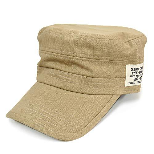 [クリサンドラ] 帽子 メンズ キャップ 刺繍 ワークキャップ 全5柄 綿 100% フリーサイズ カジュアル 無地 デニム ブランド 帽子 大きいサイズ ネームタグ ベージュ c02 07