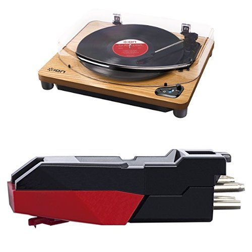 ION Air LP | Vinyl Plattenspieler / Turntable mit integriertem Bluetooth Sender - inkl. Converter Software (MAC/PC) - schwarzes Finish + ION Audio CZ-800-10 | Ersatz Tonabnehmersystem und Nadel für Plattenspieler (Max LP, Classic LP, Air LP, Vinyl Motion + Vinyl Transport) Bundle