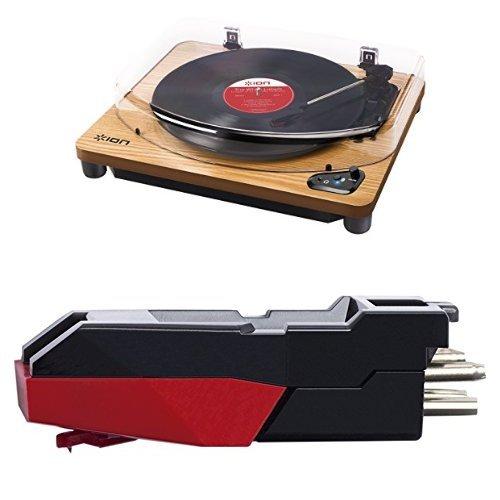 ION Audio Air LP Giradischi Bluetooth in Legno con Trazione a Cinghia e Testina con Puntina + Collegamento USB e Software per Mac e PC + ION Audio CZ-800-10, Testina di Ricambio in Ceramica