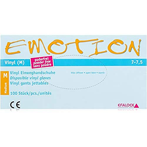 Efalock Professional Emotion Vinyl-Handschuhe Größe M puderfrei, 1er Pack, (1x 100 Stück)