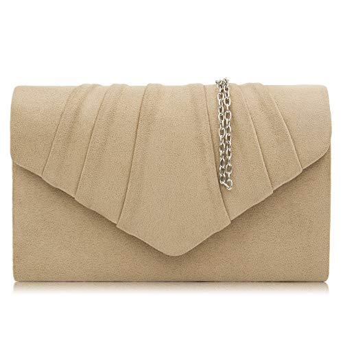 Milisente Clutch Damen, Elegante Wildleder Clutch Umschlag Crossbody Klassisch Clutch Tasche Abendtasche (Beige)