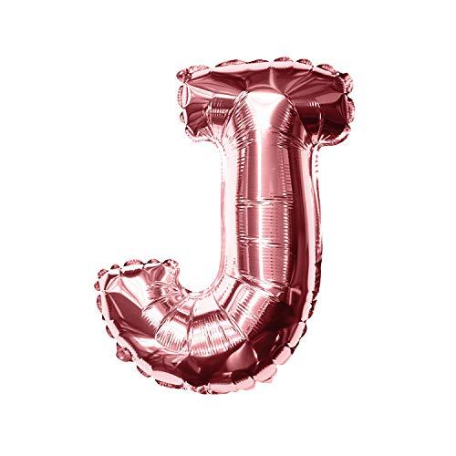 Oblique Unique® Folien Luftballon alle Buchstaben Alphabet ABC Herz Stern in Roségold für Geburtstag Jubiläum Schuleinführung JGA Hochzeit Baby Shower Party Deko Folienballon - wählbar (Buchstabe J)