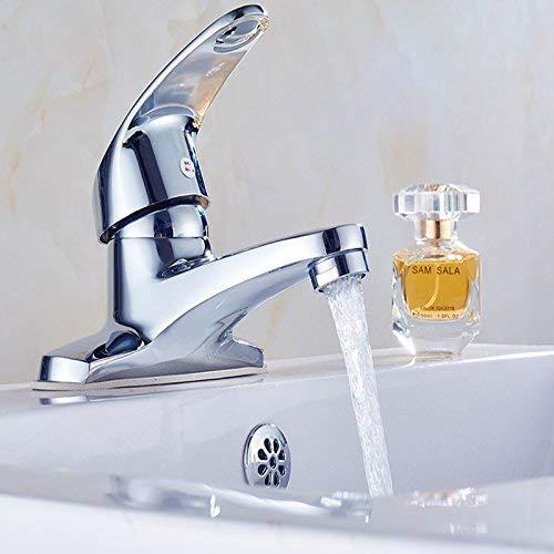 SPRINGHUA Grifo de lavabo de agua de entrada doble individual, lavabo de baño y grifo frío, grifo de aleación con tubo de entrada de 80 cm, garantía de calidad de grifo simple y moderno