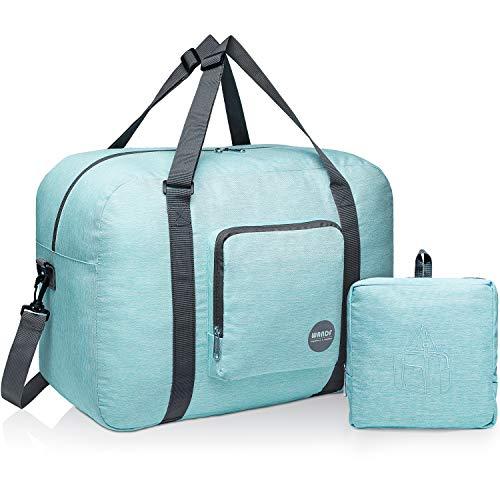 Wandf Foldable Travel Duffel Bag Luggage Sports Gym Water Resistant Nylon (C-Mint Green Denim)