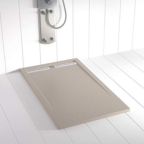 Shower Online Plato de ducha Resina FLOW - 70x120 - Textura Pizarra - Antideslizante - Todas las medidas disponibles - Incluye Rejilla Inox y Sifón - Arena S 3005 Y 50R