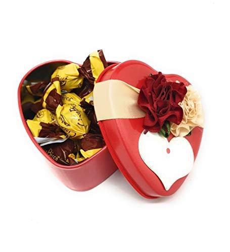 Zaini Biscotti Ricoperti di Cioccolato al Latte CiocoBiscò in Confezione Latta Cuore per Innamorati, Coppie e Fidanzati - Idea Regalo Originale e Fatto con Amore