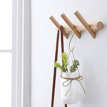 HOMEAMY Wood Coat Rack Modern Wall Mounted Hat and Towel Hanger Wooden Hooks Robe Racks with Pegs for Bedroom Bathroom and Entryway Durable Easy Assembly Classic Design  3 Hook